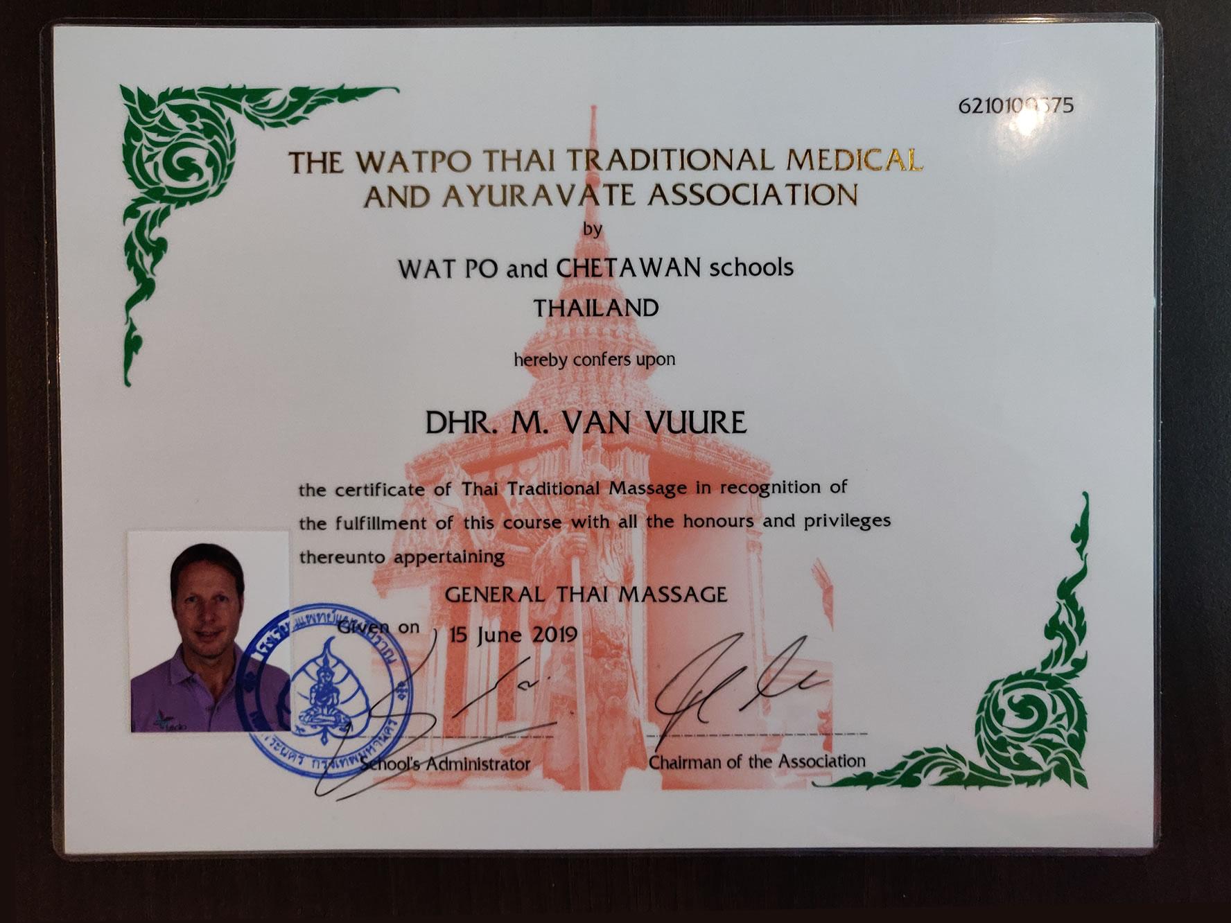diploma thaise massage euthalia